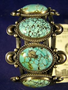 5 stone spiderweb turquoise bracelet - This is an early piece by the late Kirk Smith, Navajo.