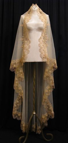 In love with Honeycomb Veils' work.  Rose gold lace mantilla.