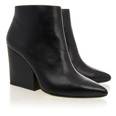 Loeffler Randall Lia Black Leather Block Heel Bootie ($170) ❤ liked on Polyvore featuring shoes, boots, ankle booties, black, black bootie, black ankle boots, black booties, block heel booties and black high heel booties