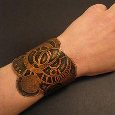 Etched Copper Cuff  Celestial Orbits   handmade von jamiespinello, $50,00