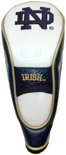 NCAA Notre Dame Hybrid Team Golf Club Head Cover by Team Golf. $17.99. Fits all utility, rescue and fairway clubs. Velour lined for extra club protecion. Velcro closure. Made with Buffalo Vinyl, Polyester Knit and Mesh. School spirit isn't something you leave at home. Take your school pride to the links with the NCAA® hybrid headcover from Team Golf®. The easy on/off cover fits all hybrid and utility clubs, and even many fairway clubs. The cover boasts simulated leather sides...