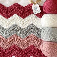 Hugs & Kisses blanket on the hook for one lucky baby girl pinks and greys go so well together! Chevron Crochet, C2c Crochet, Crochet Girls, Easy Crochet, Crochet Stitches, Free Crochet, Chevron Afghan, Crochet Ripple Afghan, Baby Girl Crochet Blanket