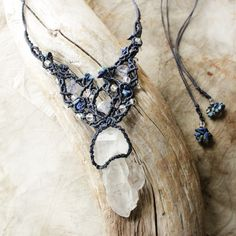 Crystal macrame jewellery, 'Third Eye' ~ raw natural Quartz cluster, crystal healing necklace with Iolite & Lapis Lazuli (miailluzia.com)