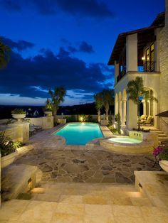 Pool Terrace - mediterranean - pool - austin - by Braswell Architecture, Inc. I like the stone flooring. Beautiful Homes, Beautiful Places, Beautiful Buildings, Beautiful Scenery, Look At The Sky, My Pool, Interior Exterior, Interior Design, My Dream Home