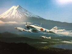 Mt. Fuji and Zero Ww2 Aircraft, Military Aircraft, Imperial Japanese Navy, War Thunder, Aircraft Painting, Airplane Art, Ww2 Planes, Car Painting, Aviation Art