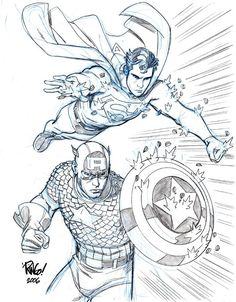 Captain America and Supeman by Mike Wieringo ✤ || CHARACTER DESIGN REFERENCES | キャラクターデザイン • Find more at https://www.facebook.com/CharacterDesignReferences if you're looking for: #lineart #art #character #design #illustration #expressions #best #animation #drawing #archive #library #reference #anatomy #traditional #sketch #artist #pose #settei #gestures #how #to #tutorial #comics #conceptart #modelsheet #cartoon #flying #fly #jumping #jump || ✤