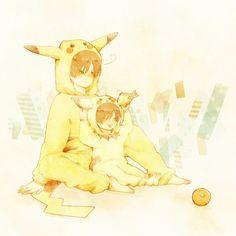 Hetalia -- South Italy -- Pikachu costumes :3