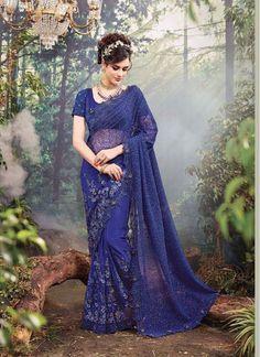 591c2250a5501b Price INR Colour   Blue Saree Fabric   Digital Net With Thread Blouse  Fabric   Net   Pure Silk Work   Zari