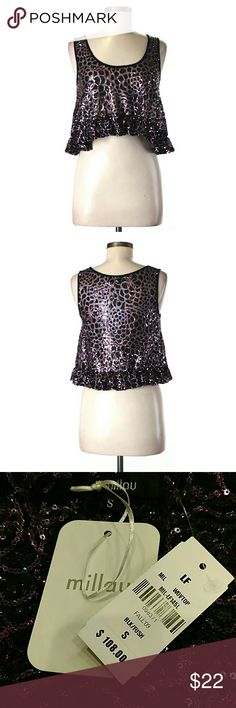"""Sequined Sparkly Crop Top NWT, Millau. 34"""" chest, 17"""" long. All pictures are of the actual item that you will receive. Smoke-free home. LF Tops Crop Tops"""