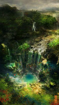 Hidden Falls by Glenn Porter Fantasy Art Watch: Photo Fantasy Artwork, Fantasy Concept Art, Fantasy Art Landscapes, Landscape Art, Beautiful Landscapes, Fantasy Places, Fantasy World, Dream Fantasy, Fantasy House