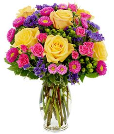 Yellow roses, hot pink roses and asters. Summer Sunrise Bouquet. So pretty!!!