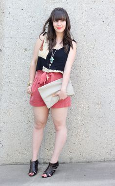 vintage crop top and trouser shorts
