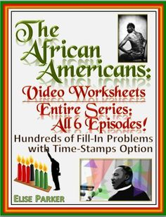 The African Americans Many Rivers to Cross Worksheets for the Entire Series -- All 6 Episodes! Complete with full answer keys and time stamps option on every question, these The African American Worksheets help students pay attention and zero in on key de Teaching Materials, Teaching Resources, Teaching Ideas, Spanish Exercises, Fall Cleaning, Booker T, History Class, History Channel, African Americans