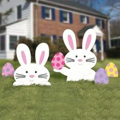 Easter Bunny Lawn Signs Easter Egg Garden Decoration Yard Spring Holiday Decor