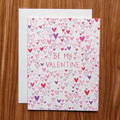 Be My Valentine // hand drawn hearts hand lettered Valentine's Day card