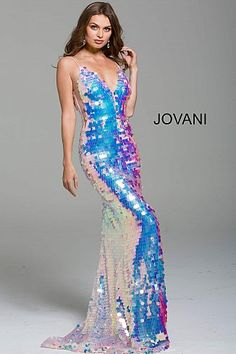 Pink Paillette Spaghetti Straps Long Prom Dress 59838  #LowVNeckDress #PlungingDress #Prom #Jovani