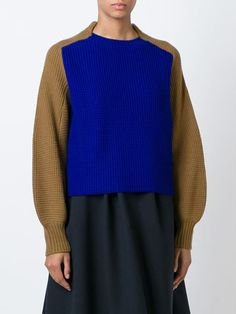 Sacai Luck Contrast Sleeve Sweater - Banner - Farfetch.com