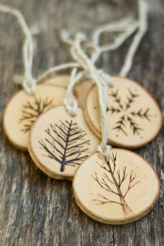 Tree Branch Christmas Ornaments - Wood Burned Trees and Snowflakes - Rustic