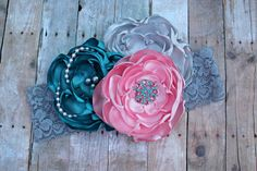 Pink Flower Headband, Teal Headband, Girls Headband, OTT, Couture, Singed Satin Flower, Satin Flower Headband, Photo Prop, Photography