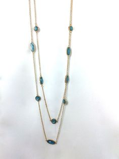Jewel-Dotted Long Necklace and Earring Set via aladyloves.com