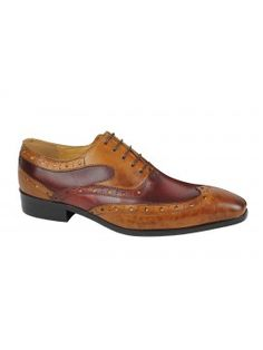 da73238b1 Mens Real Leather Tan Maroon Classic Brogue Lace Up Two Tone Burnished  Shoes Mens Shoes Uk