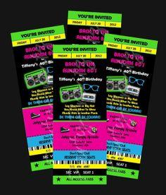 Printable - 80's Party - Ticket Invitations Custom Personalized. $12.00, via Etsy.
