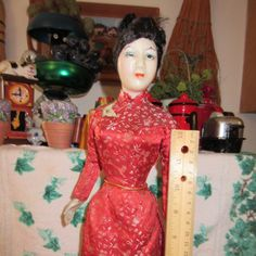 """Vintage 17"""" Japanese Doll in Kimono on Wooden Stand by thevillagemagpie on Etsy"""
