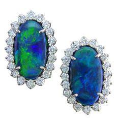 Oscar Heyman Platinum opal diamond earrings