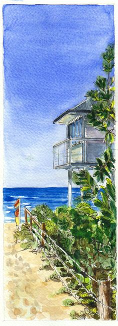 #worldwatercolormonth July 18 Killcare beach