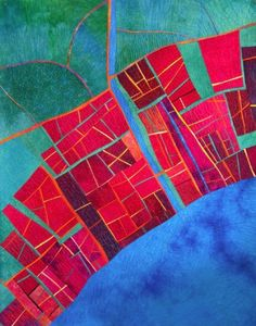 Seaside Town map art quilt by Alicia Merrett