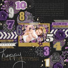 "Digital Scrapbooking Layout created using products from Cindy Schneider and Sahlin Studio. (This is my daughter a year ago!) CREDITS: - template is ""Single 20"" by Cindy Schneider - ""New Year's Eve"" by Sahlin Studio and Valorie Wibbens - ""New Years Eve Word Art"" by Sahlin Studio & Valorie Wibbens - Font: Emily"