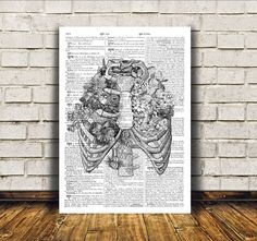 Modern decor for your home and office. Rib cage poster over dictionary text. Awesome macabre art. Nice dictionary print. SIZES: A4 (8.3 x 11) and
