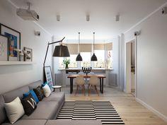 Obývací pokoj a jídelní prostor v jedné osobě uvnitř skromný moskevském bytě…