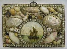 A smaller, later piece (late 19th century) using mostly pearliscent shells. Pretty handpainted shell in the middle.