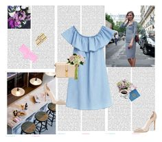 """""""Inspired: Denim Dress"""" by rikka-alethea ❤ liked on Polyvore featuring Oris, MANGO, Yves Saint Laurent, Gianvito Rossi, Rifle Paper Co and Victoria's Secret PINK"""