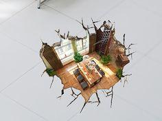 Realistische 3D Boden Aufkleber Eröffnung Loch Boden Aufkleber, umweltfreundliche Boden Dekoration Poster, 3D…