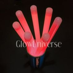 """12"""" Jumbo Lumistick Glow Stick Light Sticks Pink (Tube of 20) by Lumistick. $29.99. You will receive 1 tube of 20 LumiStick Jumbo Light Sticks.. Your order will contain all Pink. These Jumbo Sticks are 12"""" long and 15mm thick (6/10ths of an inch) and should glow bright for 8-12 hours. They have a 2 year shelf life. These can be used with our optional 'ground stakes' to be placed in the ground to light up pathways at night. Or use them with our 'star toppers' to make ..."""