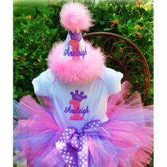 Gingersnaps Kids Boutique - 4 piece Pink and Lavender 1st Birthday Crown Tutu Set, $121.00 (http://www.gingersnapskids.com/products/4-piece-pink-and-lavender-1st-birthday-crown-tutu-set.html)