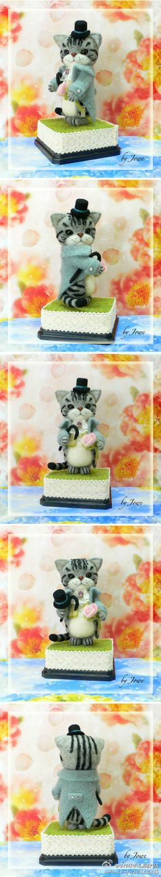 Adorable little needle felted cat by felting artist Jowe from Hong Kong.  I love everything she does.
