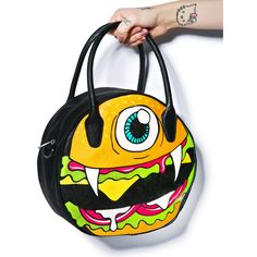 Iron Fist Burgerclops Purse ($49) ❤ liked on Polyvore featuring bags, handbags, shoulder bags, iron fist, print handbags, real leather purses, iron fist handbags and circle purse