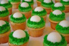 Buttercream cupcakes with white chocolate golf balls! Golf Cupcakes, Mini Cupcakes, Cupcake Cakes, Chef Party, Buttercream Cupcakes, 80th Birthday, Dessert Ideas, Projects For Kids, White Chocolate