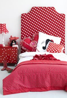 red and white polka dots girls room