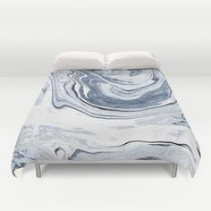 Kiyomi - spilled ink japanese monoprint marble paper marbling art print cell phone case with marble Duvet Cover