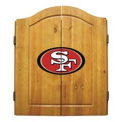 San Francisco 49ers Premium Solid Pine Dartboard Cabinet