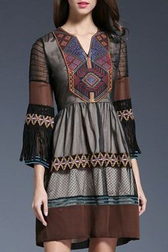 Sheer Sleeve, Embroidered Ethnic Design Dress.
