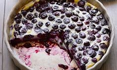 Hugh Fearnley-Whittingstall's blueberry clafoutis, the guardian Summer Desserts, Just Desserts, Dessert Recipes, Dessert Ideas, Blueberry Clafoutis, Blueberry Cake, Clafoutis Recipes, Hugh Fearnley Whittingstall, Campbells Recipes