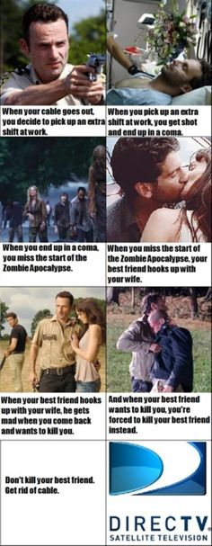 Funny thing is, direct tv doesn't show the walking dead.<<<<<---whoever wrote this is an idiot! DISH doesn't show the walking dead.<<< no actually DISH does show the Walking Dead, I watch it every week. Yandere, Memes The Walking Dead, Walking Dead Zombies, Satire, The Walk Dead, Merle Dixon, And So It Begins, She Wolf, Lol