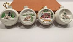 Walter Brookmann Ceramic Ornaments Set of 4 Very Rare