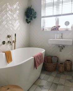 """I love the way this bathroom tile combo makes this space so creative and simple. Brilliant, in a """"I don't care"""" kind of way. Large Bathrooms, Rustic Bathrooms, Modern Bathroom, Small Bathroom, Bathroom Ideas, Bathroom Wallpaper, Bathroom Shower Curtains, Walk In Shower Enclosures, Walk In Shower Designs"""