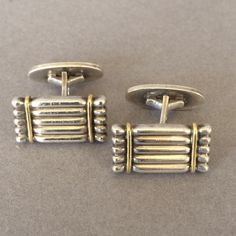 Gallery 925 - Georg Jensen Cuff Links No.156 with 18K Gold accents. Handmade Sterling Silver.